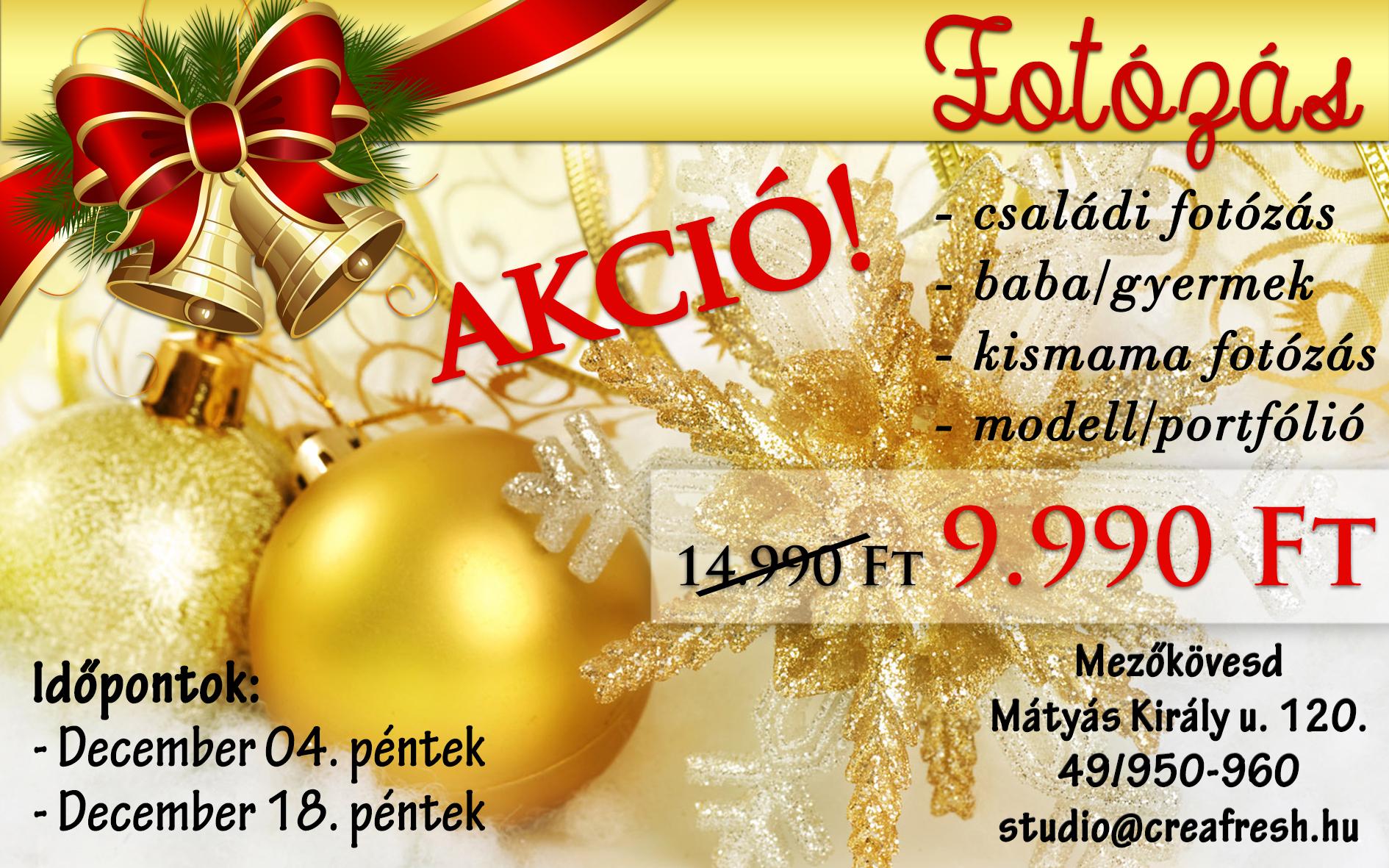 Karácsonyi Fotózás AKCIÓ!